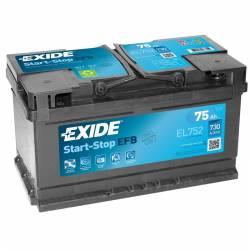 Batería Exide 12V. 75Ah. EL752
