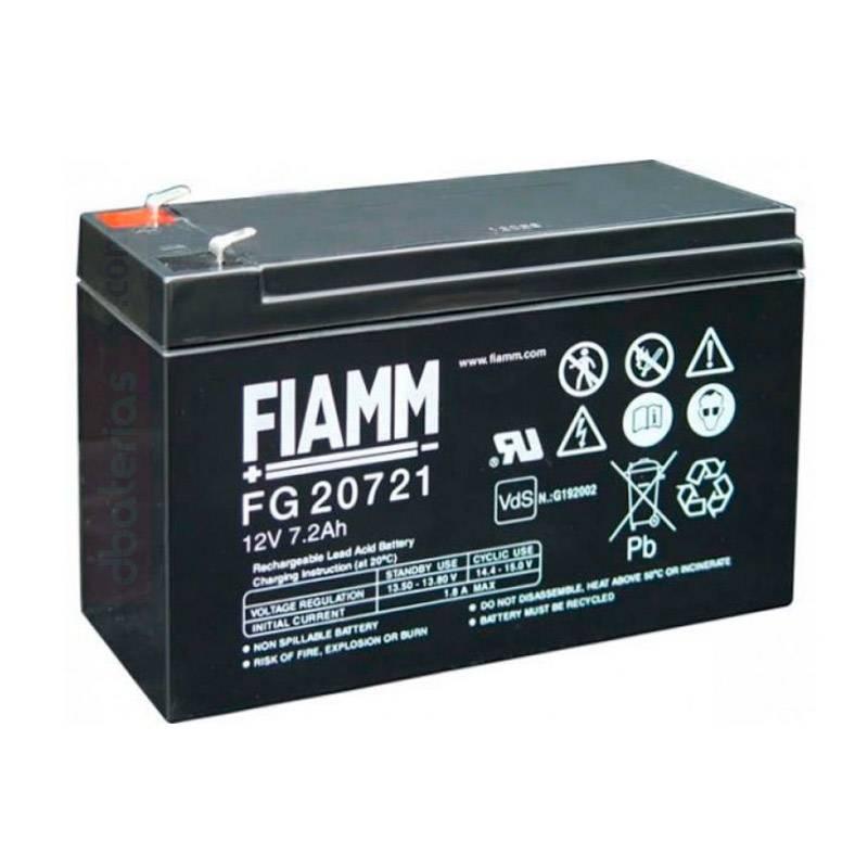 Batería FIAMM FG20721, 12 voltios y 7,2 amperios. distribuidor en España